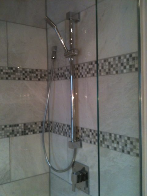 Marble tile, glass mosaic